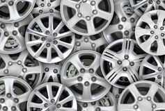 Steel alloy car disks Royalty Free Stock Images