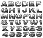 Steel alphabet set Royalty Free Stock Image