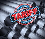 Steel And Aluminum Tariffs. In the United states as a stamp on metal background as an economic trade taxation dispute over import and exports concept as a 3D Royalty Free Stock Images