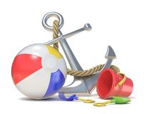 Steel anchor, beach ball and saving belt 3D. Render illustration isolated on white background Royalty Free Stock Photos