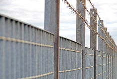Steel anti entry fence with sharp spikes Royalty Free Stock Photos