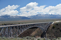 Steel Arch Bridge Spanning Across the Rio Grande Gorge Royalty Free Stock Photos