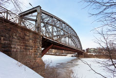 Steel Arch Bridge on river Msta Stock Photography