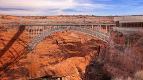 Steel Arch Bridge and Visitor Center at Glen Canyon Dam Stock Photo