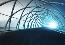 Steel arch construction along speed track in motion Stock Photos