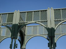 Steel arches. Metal arches against the sky Stock Photo