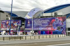 Steel arena during IIHF world championship in Kosice, Slovakia. KOSICE, SLOVAKIA - MAY 11: Steel arena during  2019 IIHF World Championship on May 11, 2019 in stock images