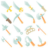 Steel arms items icons set, cartoon style Stock Photography