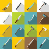 Steel arms symbols icons set, flat style Royalty Free Stock Photography