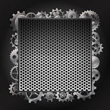 Steel background and gear wheel Royalty Free Stock Image