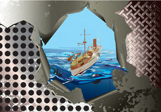 Steel background with warhip. Image of warship on the steelbakground Royalty Free Stock Images