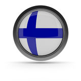Steel badge with Flag of Finland. Steel badge with the flag of Finland on a white background, 3d rendering Stock Photography