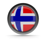 Steel badge with Norwegian flag. Steel badge with the flag of Norway on a white background, 3d rendering Stock Photos