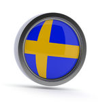 Steel badge with Swedish flag Stock Images