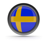 Steel badge with Swedish flag Royalty Free Stock Image