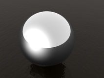 Steel ball. A 3D rendered image of shiny metal ball on liquid vector illustration