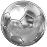 Steel ball. Steel shiny football (soccer) isolated on white Royalty Free Stock Photography