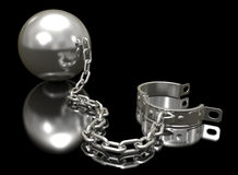 Steel ball on a chain and shackle. Stock Photo