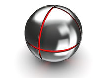 Steel ball with red core Stock Photography