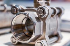 Steel ball valve. Modern shut-off valves. Abstract industrial background stock photo