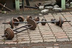 Steel balls for lifting weights of various sizes. It is used in. The exercise Stock Photo