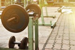 Steel balls for lifting weights of various sizes. It is used in. The exercise Royalty Free Stock Image