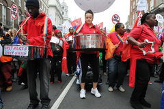 Steel Band at Anti-Cuts Protest in London Stock Photography