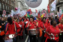Steel Band Plays at Anti-Cuts Rally Stock Photo