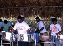 Steel band, Tobago. Steel band playing at the Grafton Beach Resort Hotel, Tobago, Trinidad and Tobago, Caribbean Royalty Free Stock Photography