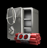 Steel bank safe with Explosives. Alarm clock isolated on black background High resolution 3D Royalty Free Stock Photos