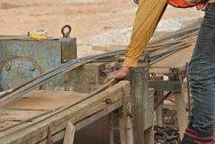 Steel bar bending yard Stock Photo