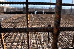 Steel bar detail. Construction of a swimming pool, detail Royalty Free Stock Image