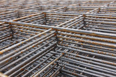 Steel bar framework. In the construction site royalty free stock images