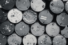 Steel barrel tank or oil fuel toxic chemical barrels black and white color tone. Stock Photo