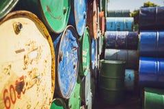 Steel barrel tank or oil fuel toxic chemical barrels. Stock Photo