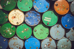 Steel barrel tank or oil fuel toxic chemical barrels. Royalty Free Stock Images