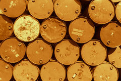 Steel barrel tank or oil fuel toxic chemical barrels. Stock Image