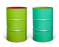 Steel barrels with paths. Two coloured steel barrels on white background with paths Stock Images