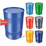 Steel barrels set on white background. Vector illustration. Royalty Free Stock Images