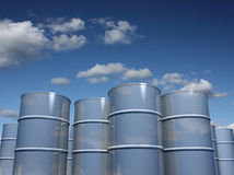 Steel barrels with sky background Stock Photo
