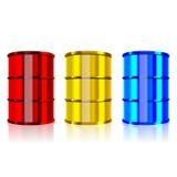 Steel barrels. Three color steel barrels on white background, vector illustration Stock Photography