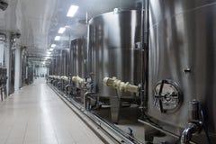 Steel barrels   in winemaker factory Stock Photo