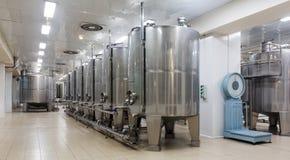Steel barrels   in winemaker factory Stock Image