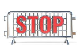 Steel barricades STOP sign 3D. Render illustration  on white background Royalty Free Stock Images