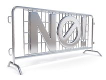 Steel barricades with word NO. Side view. 3D Royalty Free Stock Photography
