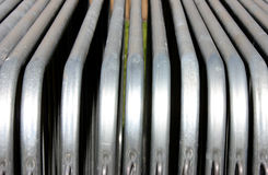 Steel Barriers and metal construction materials. Steel and metal Barriers, tubes and other building and construction materials Royalty Free Stock Photo