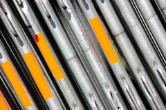 Steel Barriers and metal construction materials. Steel and metal Barriers, tubes and other building and construction materials Stock Photography