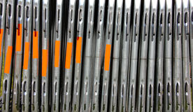 Steel Barriers and metal construction materials. Steel and metal Barriers, tubes and other building and construction materials Stock Photo