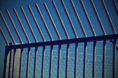 Steel barriers to delimit the camp for migrant refugees Royalty Free Stock Photography