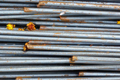 Steel bars close- up background. Reinforcing bar background stock image